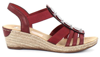 Rieker Sandaler med kilklack 624B4 35 röd